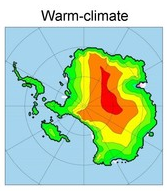 Simulation of the Antarctic ice sheet under a warm climate.  Image credit: Dr. David Pollard