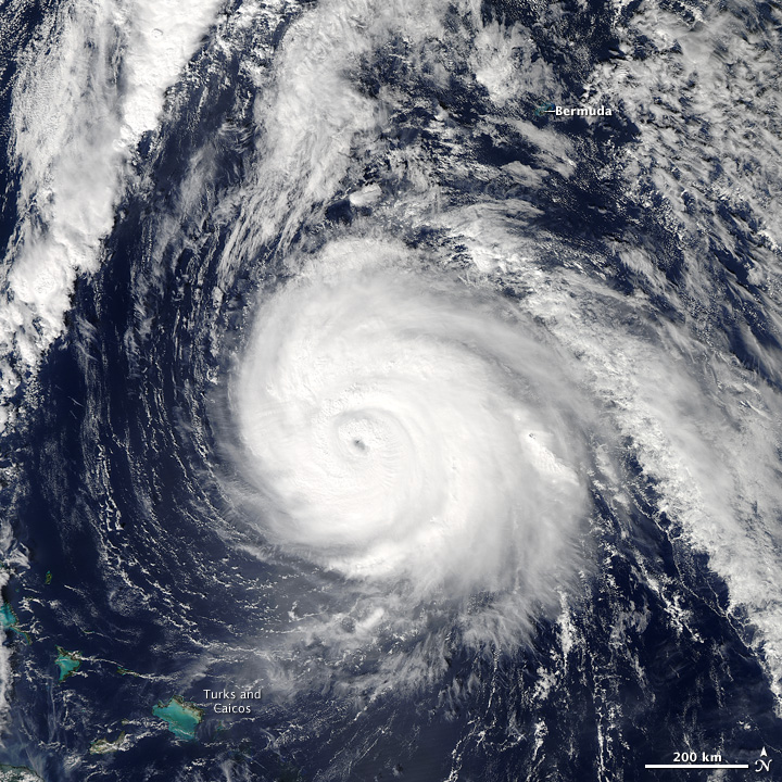 Hurricane Gonzalo in October 2014.  Image courtesy of NASA/Earth Observatory