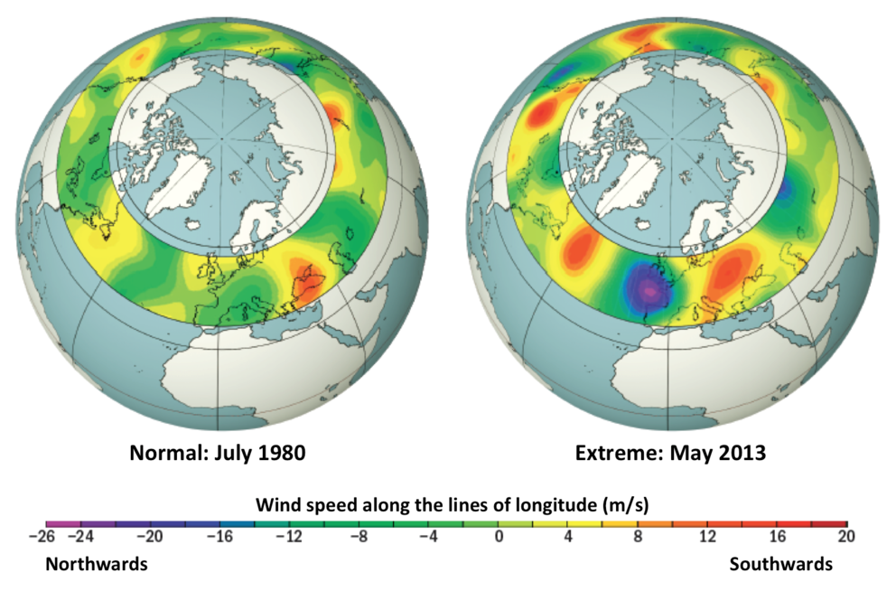 Figure showing difference in normal and extreme jet stream